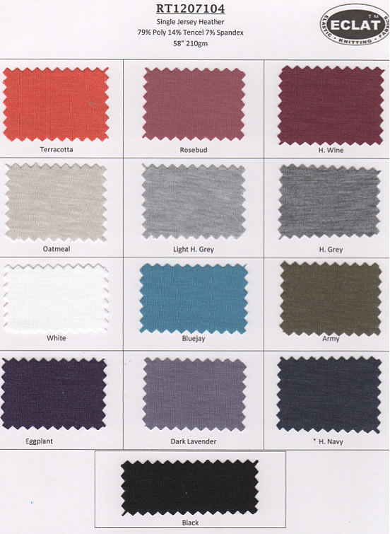 Single Jersey Heather Color Card